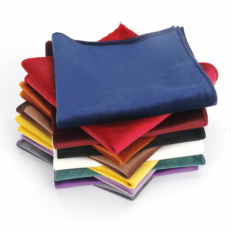 Brand New 23cm*23cm Men Fashion Vintage Solid Color Gold Velvet Handkerchiefs Small Pocket Square Towel Wedding Party Gift