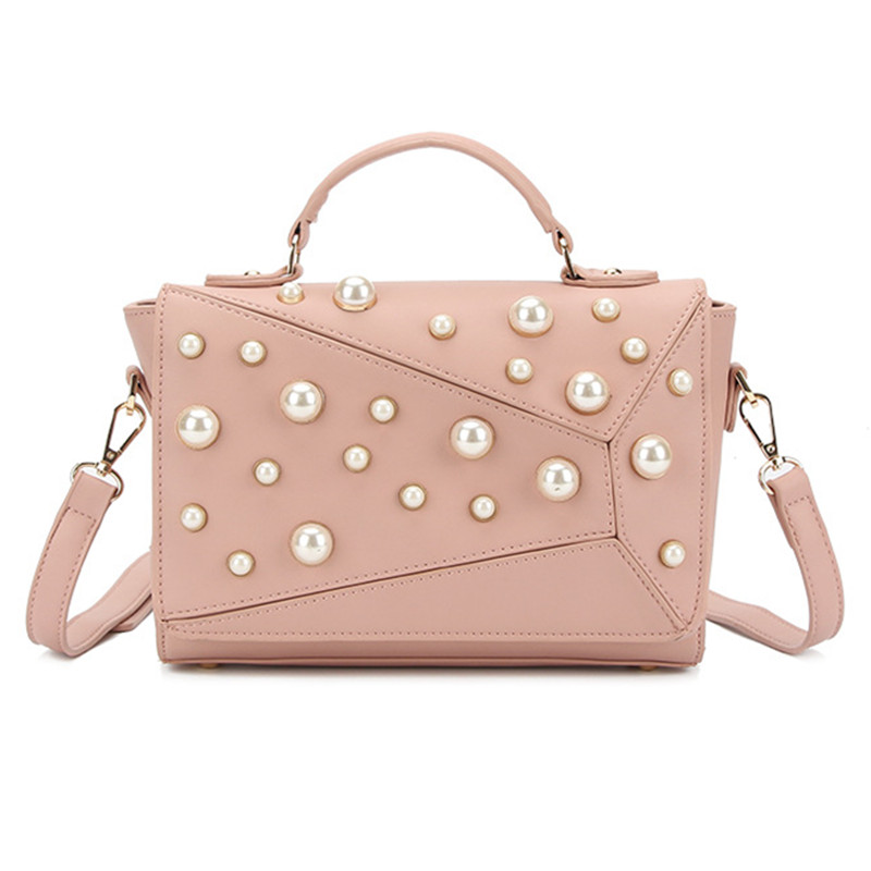 2017 New Autumn Winter Women Girls Messenger Customized Bags Fashion PU Leather Lady Pearls Handbag Shoulder Crossbody Pink Bag