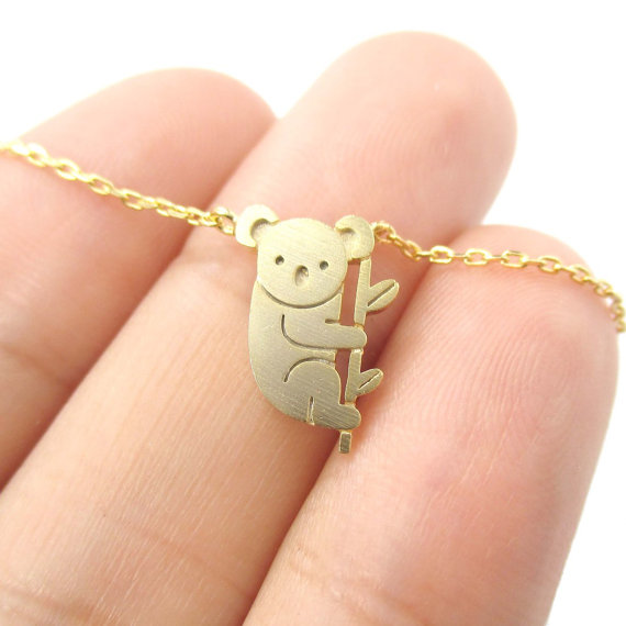 Shuangshuo 2017 Newest Small Koala Bear and Branch Shaped Animal Charm Necklace in Gold  Handmade Animal Jewelry  XL136