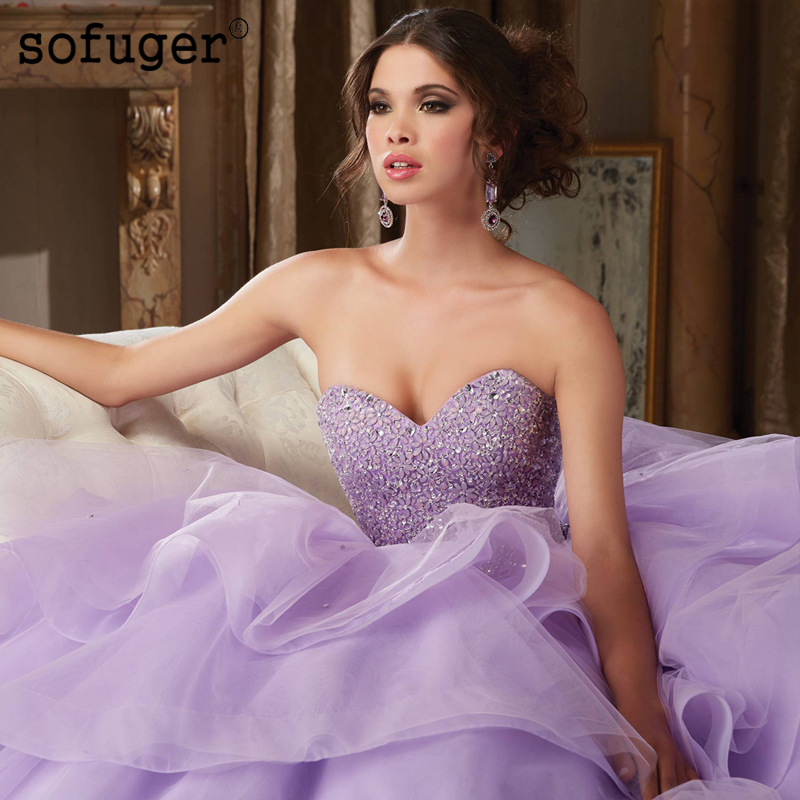 Lilac Quinceanera Dresses Long Organza Tiereds Sweetheart Appliques Ball Gown Puffy Beadings Pleat