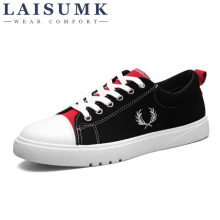 2019 LAISUMK Canvas Men Shoes Denim Lace-Up Casual New  Breathable Male Footwear Sneakers Spring Autumn