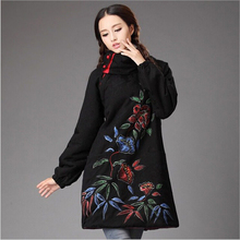 Winter chineses tyle retro frog pure linen freehand flower pullover jacket coats cotton-padded clothes trench coat