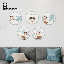 Roogo Resin Wall Hanging Plates 3D Cute Deer Home Living Room Bar Background Art Nordic Decoration Dishes Ornaments Craft Decor