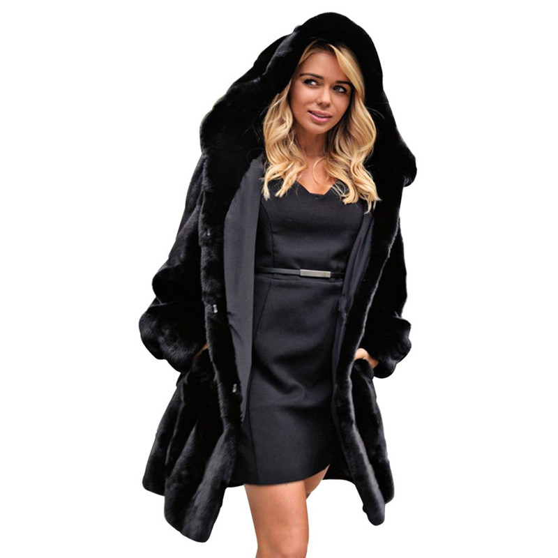 Cheap Black Faux Fur Coat