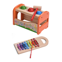 2 in 1 Learning & Education Toys Wooden Pond & Tap Bench with Slide Out 8 Notes Xylophone Glockenspiel Toy Musical Instrument