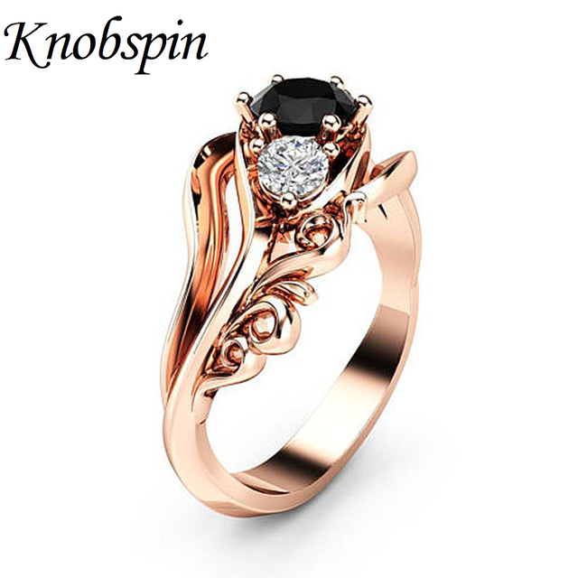 European Pop Women Jewelry Flower Black Zircon Ring bijoux femme Rose Gold Color Chic Elegant Female Rings US Size 6-10 anillos