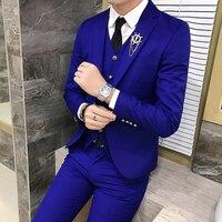 High quality new Men Suit set Trend Groom wedding suit three piece suit Suit + vest + pants to send a tie