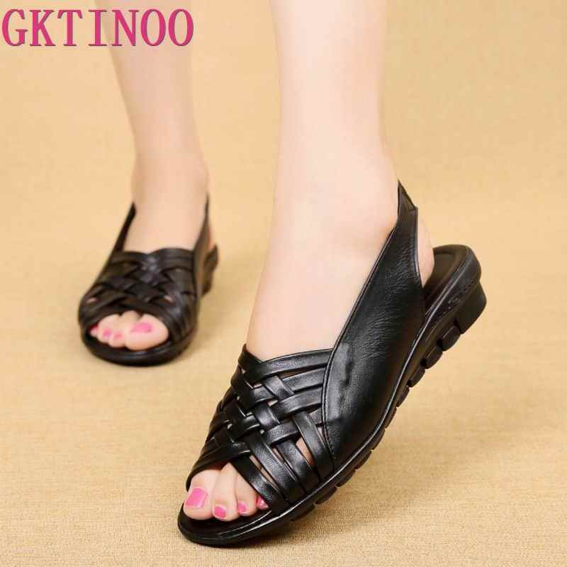 2019 Summer Women Shoes Woman Genuine Leather Flat Sandals Open Toe Mother Wedges Casual Sandals Women Sandals Black Big Size