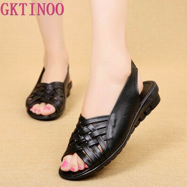 2020 Summer Women Shoes Woman Genuine Leather Flat Sandals Open Toe Mother Wedges Casual Sandals Women Sandals Black Big Size