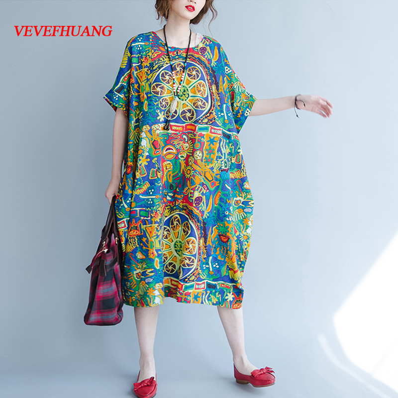 4XL 5XL 6XL 7XL Plus Size Women Clothing Big Size Retro Printing Bohemian Dress Casual Loose Dresses Robe Femme Ete