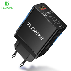 FLOVEME QC3.0 Quick Universal Charger For iPhone Samsung S8 7 Mobile Phone Charger For Xiaomi Huawei 18W Fast EU Adapter Charger