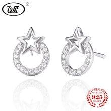 WK Genuine 925 Sterling Silver Stud Earrings For Women Ladies Round Circle Star Earring Studs Earing Cute Jewelry 2017 MN EA020