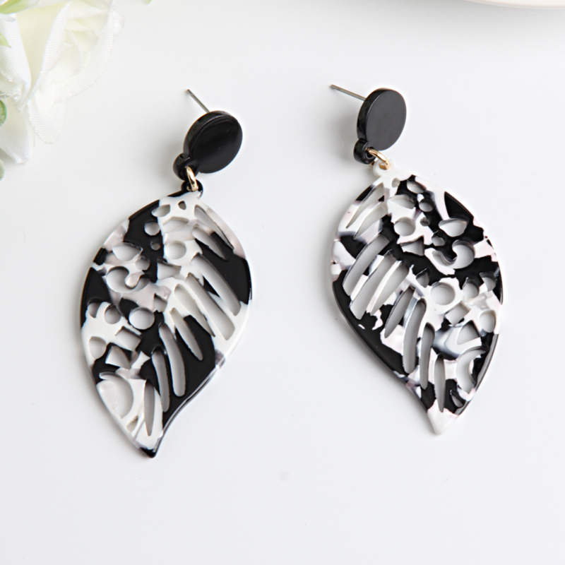 Beadsland Acetic Acrylic Drop Earrings Hollow Leaf Design Fashion Office career Woman Girl Party Festival Hot Sell Gift 40335 in Drop Earrings from Jewelry Accessories