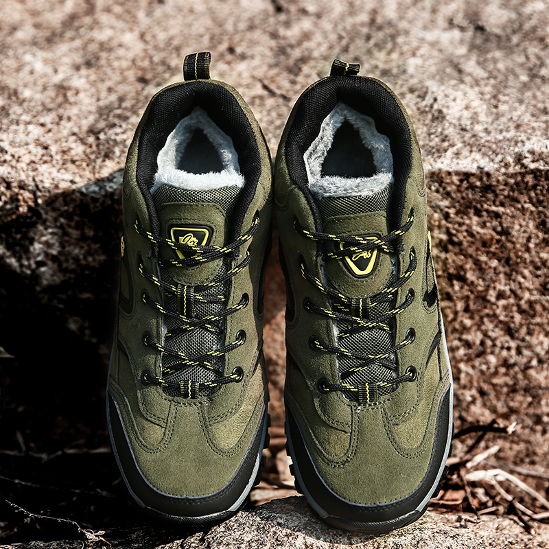 Unisex Keep Warm Hiking Shoes Women Anti-skid Winter Sport Shoes Men Outdoor Walking Athletic Trainers Green Sneakers Size 36-47