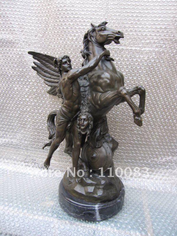 Curio cuivre cheval événements décoration maison mythe cheval volant Bronze Statue licorne