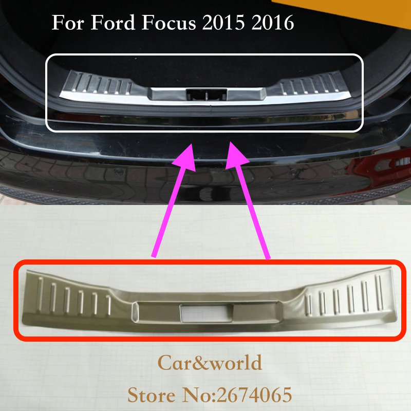 For Ford Focus 3 Sedan 2012 2015 2017 Rear Bumper Door Sill Plate Protector Cover Trim Trunk guard Stainless Steel Car Accessory stainless steel rear bumper protector plate sill trunk guard cover trim 2pcs accessories for volkswagen vw tiguan l 2017