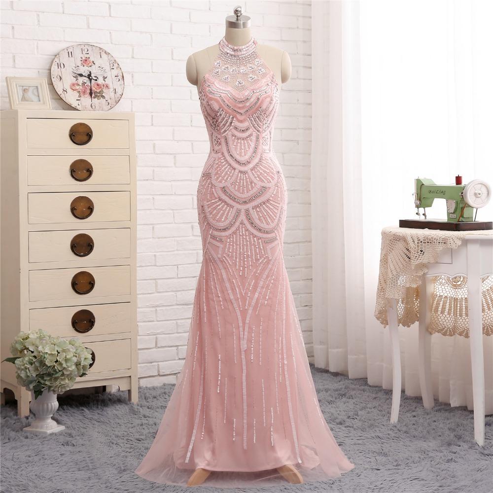 Más nuevo diseño rosa Vestidos de noche largo 2018 Halter ...