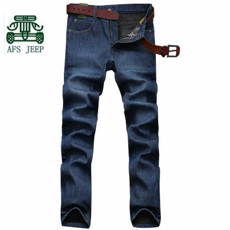 AFS JEEP 2016 Winter Cashmere Inner Sky Blue Man's Mid Waist Cotton Jeans,Casual Straight Plaid Thin Elasticity Leisure Pants blue sky cashmere blue sky cashmere кашемировый кардиган с шелком 160842