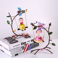 AIBEI-European Pastoral Style Wrought Iron Swing Tin Doll Figurine 2PCS/SET Home Wedding Decoration lovers furnishing articles