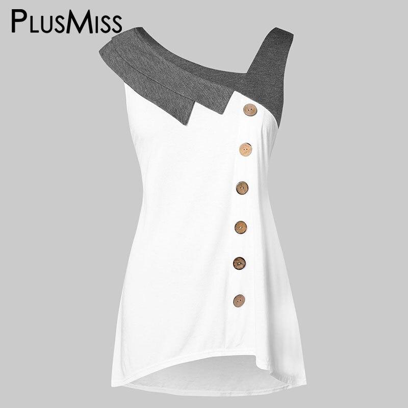 PlusMiss Plus Size 5XL Skew Neck Button Tunic   Tank     Tops   XXXXL XXXL XXL Women Big Size White Sleeveless Casual Vests   Top   Ladies
