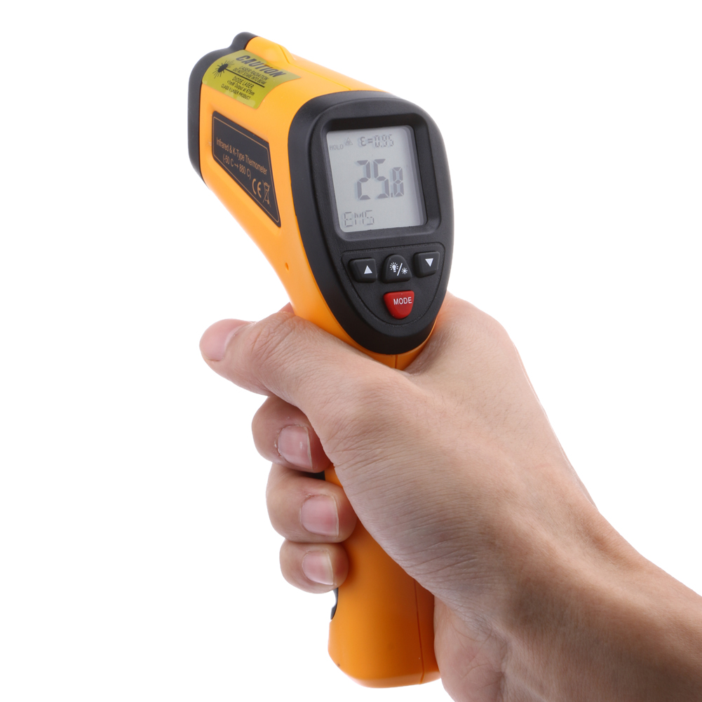 Digital Infrared Thermometer LCD Display Non Contact Pyrometer Laser Thermometer High Temperature Test Equipment 1pc colorful lcd display infrared thermometer non contact digital ir laser thermometer 30 300degree for bside btm21a