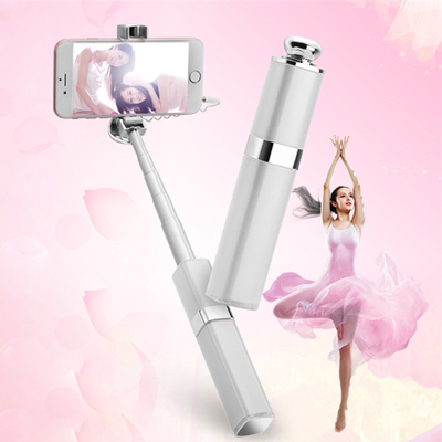 Mujeres Mini Wired White Selfie Stick 180 grados de rotación Universal Handy Selfy Stick para Iphone 4 4s 5 5s 6 6s 6plus Android