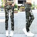 2017 spring straight multi-pocket overalls slim casual out door trousers Camouflage pants female loose Cargo Pants women Z961