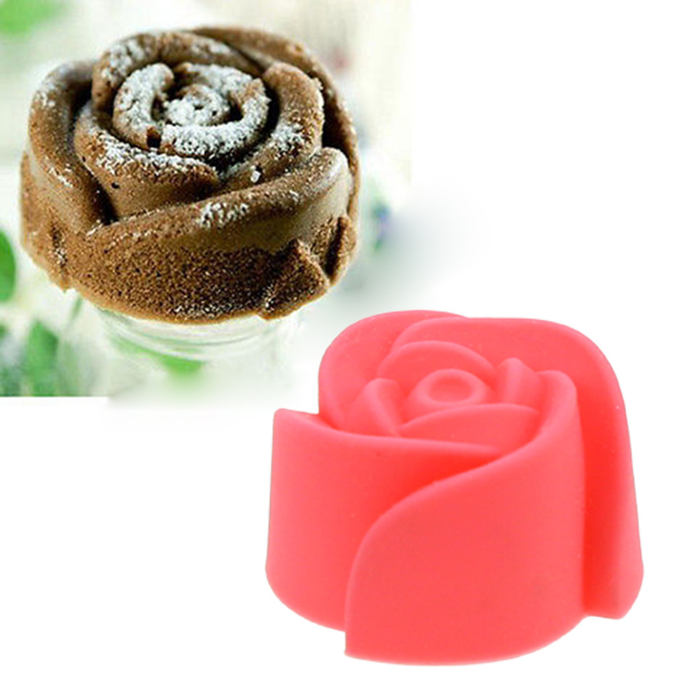 ᗑ】2PCS/lot Silicone Rose Chocolate Muffin Cookie Cup Cake Baking ...