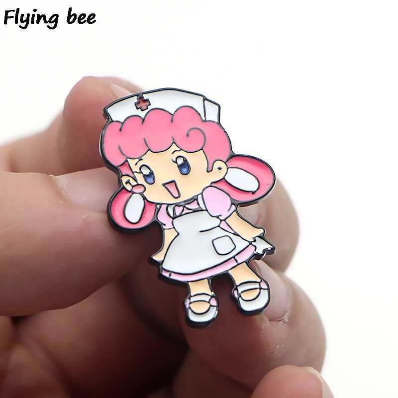 Flyingbee Perawat Joy Enamel Pin Kartun Bros Pakaian Pin Lencana untuk Denim Blus Pesona Dasi Pin Perhiasan Aksesoris X0151