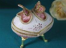 Pink Pearl Butterfly Music Box Open Door Eggshell Love Heart Musicbox Jewelry Box Musical box Christmas gift Women Girls