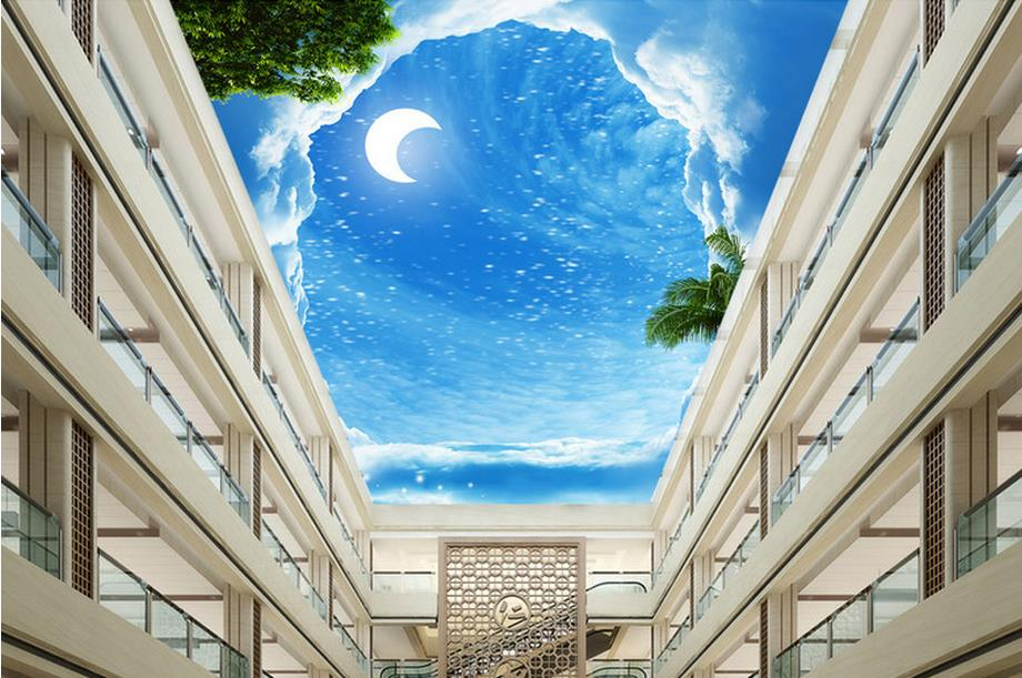 custom 3d ceiling photo Ladder to the moon coconut 3d ceiling murals wallpaper bedroom 3d stereoscopic ceiling wallpaper гамак ticket to the moon moonhammock king