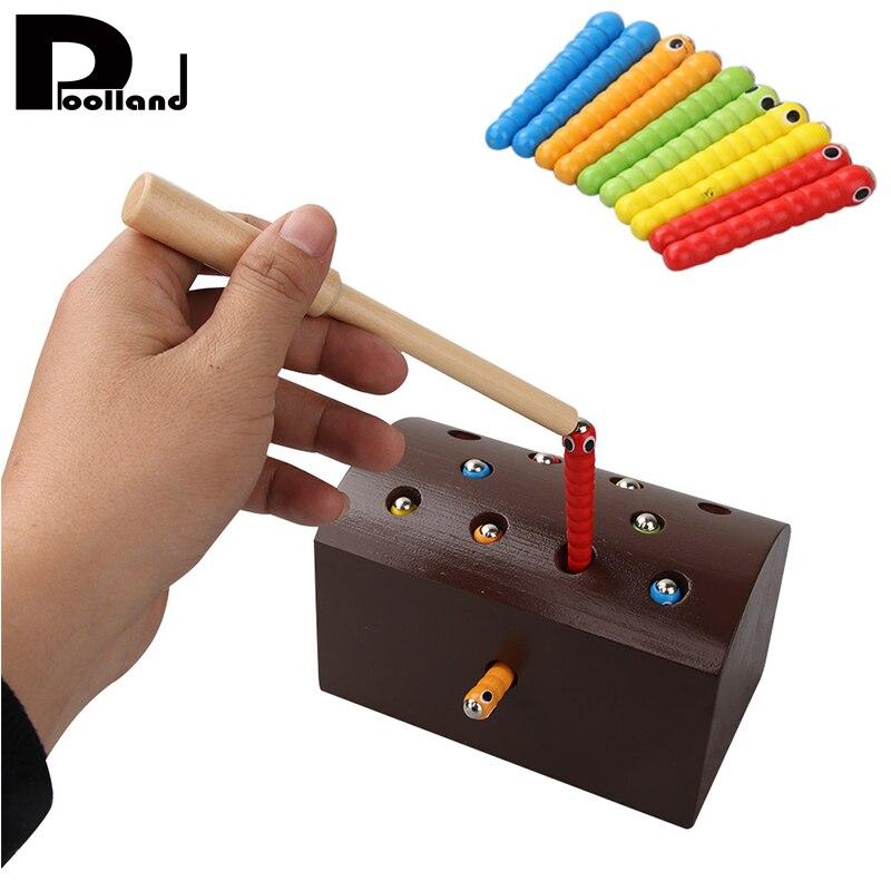 Coger el gusano juguetes magnéticos para los niños Aprendizaje Temprano juguete educativo juego de Puzzle de madera colorido juguete para niños P20