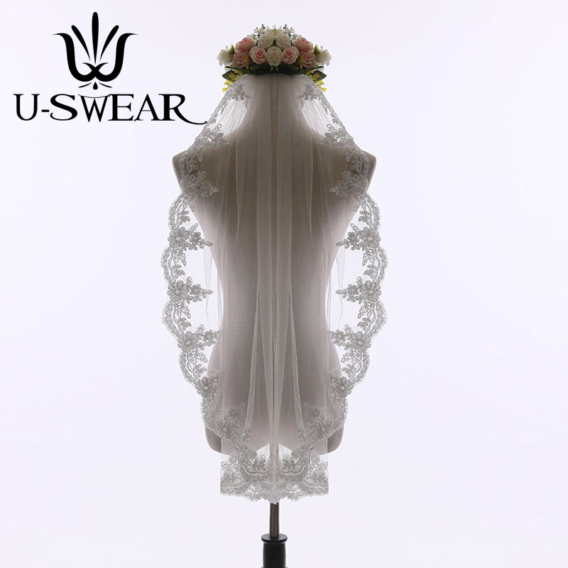 U-SWEAR Hot Sale Flora Lace Embroidery Women Wedding Veils 90 CM Long One Layer Bridal Veils Lace Edge Style