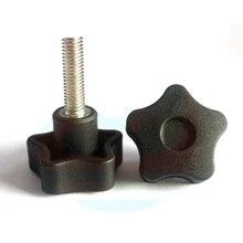 2Pcs M10 Stainless Steel Five stars Plastic head handle Pentagonal Knob Torx T&TX Plum blossom Hand screw bolt 15mm-80mm L
