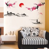 China Style Landscape Painting Living Room Wall Stickers Removable DIY Home Decor Chinese Style Wall Posters