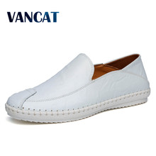 VANCAT Big Size High Quality Genuine Leather Men Shoes Soft Moccasins Fashion Brand Men Flats Comfy Casual Driving Boat38-47