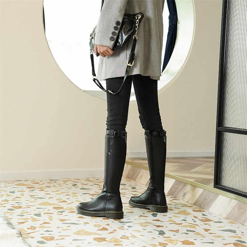 FEDONAS/Новинка; качественные женские сапоги до колена из натуральной кожи; сезон осень-зима; теплые высокие сапоги; обувь для вечеринок; женские сапоги в стиле панк для верховой езды