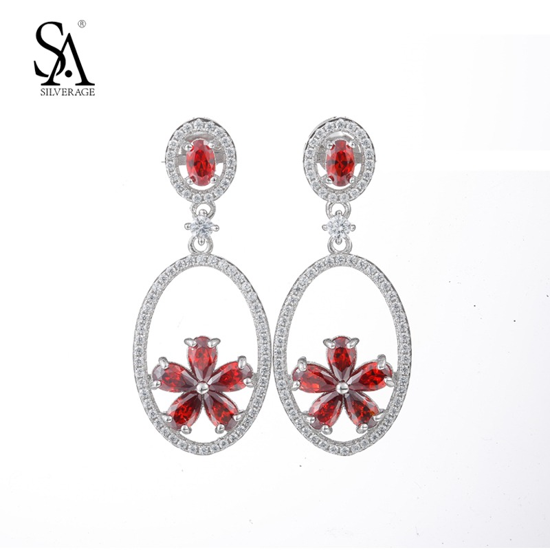цена на SA SILVERAGE Real 925 Sterling Silver Stud Earrings High Crystal Red Rhinestone Flowers Party Style Earring For Women Gift