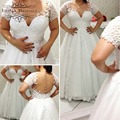 Bridal Gown Short Sleeve Lace Applique Pearls Sheer Back Plus Size Wedding Dress