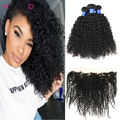 13x4inch ear to ear lace frontal closure with 2 bundles malaysian virgin hair with frontal closure afro curly hair with closure