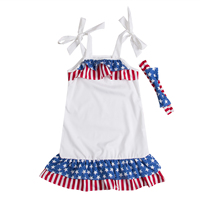 Kid July Fourth American Flag Girls Princess Party Dress Costume Outfits Clothes