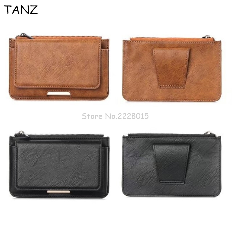 TANZ Universal Many Models Belt Clip Holster Leather Mobile Phone Case Pouch cover For Smartphone bags For Iphone 8 7 6 Xiaomi