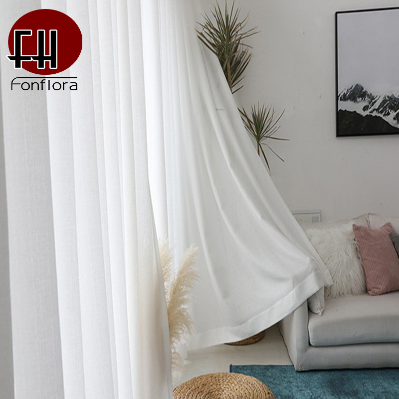 Solid White Thick Tulle Curtains For Living Room Bedroom Sheer Curtains Modern Voile Decorative Window Treatments