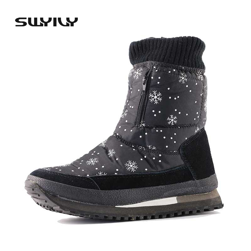 Snowflake Pattern Waterproof Winter Mid High Snow Boots 2017 New Non-slip Thickening Warm Female Boots Cotton Shoes Zipper