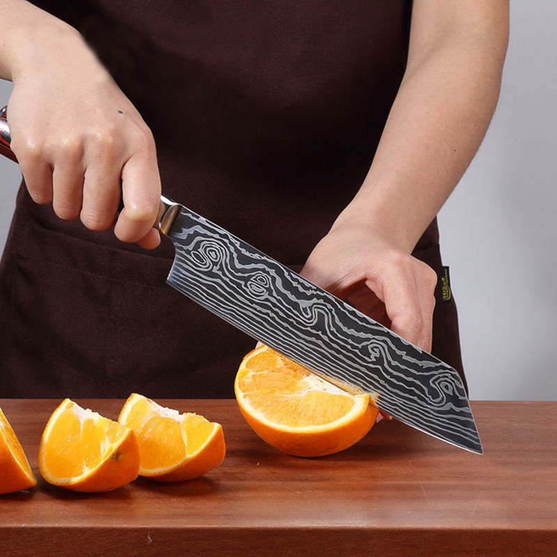 Kitchen knife Chef Knives 8 inch Japanese 7CR17 440C High Carbon Stainless Steel Sanding Laser Pattern Vegetable Santoku Knife in Kitchen Knives from Home Garden