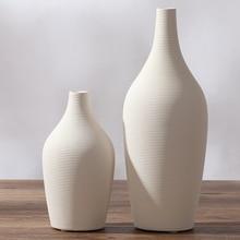 TV cabinet white ceramic creative contracted flower vase home decor craft room decoration handicraft porcelain figurine