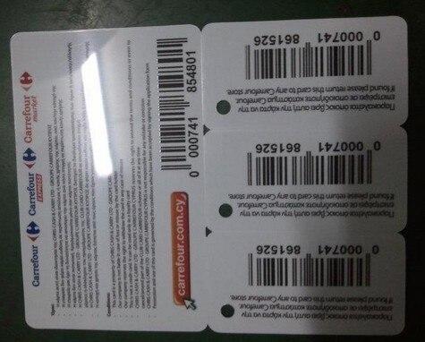 Código de barras tarjeta de plástico y código QR suministro de tarjeta de pvc