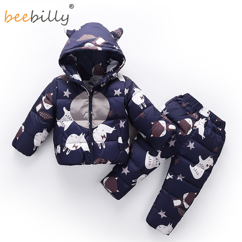 2018 Winter Children Clothing Set Baby Boy's Ski Suit Sets Girl Outdoor Snowsuits Down Jacket For Baby Coats Jackets+ Trousers russia baby girl ski suit sets winter children clothing set boy s outdoor sport kids down coats jackets trousers 30degree 30