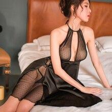 Yhotmeng סקסי פיתוי גבירותיי תליית צוואר רשת אסף תחרה רצועות חצאית חלול ללא משענת שקוף פיות חליפת כותונת