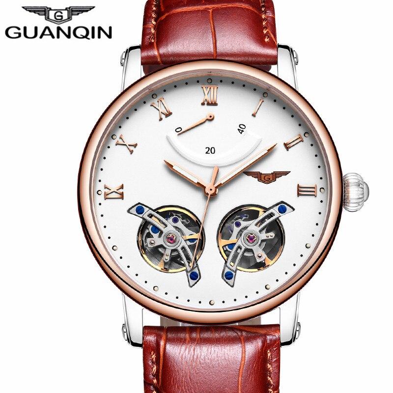 GUANQIN моды Для мужчин Элитный бренд Tourbillon автоматические механические часы Для мужчин S Спорт световой аналоговые часы кожаный ремешок наруч...